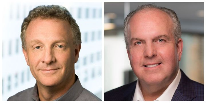 Steve Mitgang, CEO of SmartDrive (left) and Ray Greer, CEO of Omnitracs (right) are excited about the merger.