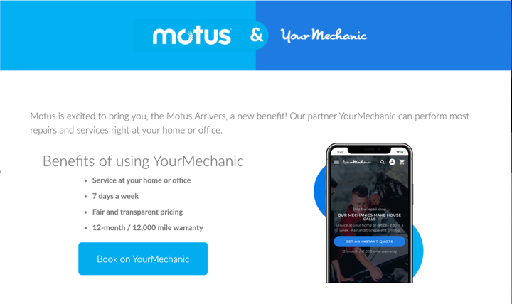 Through the Motus cloud-based platform and app, customers now have direct access to hundreds of mobile auto care services – from oil changes and brakes to battery and alternator failures – directly to their fleet lots or home driveways.  - Photo: YourMechanic