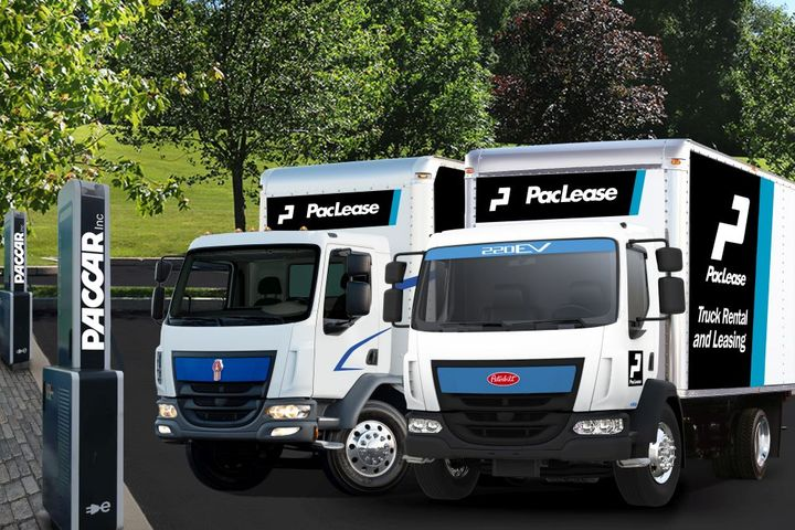 PacLease is finding high interest from customers wanting to explore going green by leasing Kenworth and Peterbilt medium-duty cabover battery-electric trucks. - Photo: PacLease