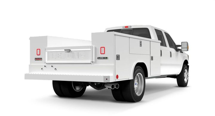 Standard features of our aluminumservice bodies include a pressed diamond plate floor and inner tailgate surface, heavy-duty compartment doors and a rugged undercoated understructure for superior durability and strength. - Photo: Reading Truck Body