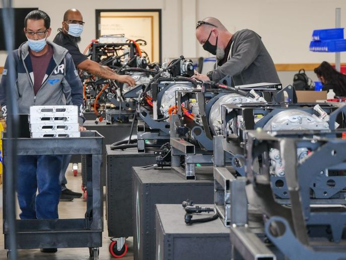 This past spring, Lightning more than doubled its manufacturing space, with more expansion planned. During the summer, the company ramped up production by more than 600% and continues to increase production as its orders increase. - Photo: Lightning eMotors