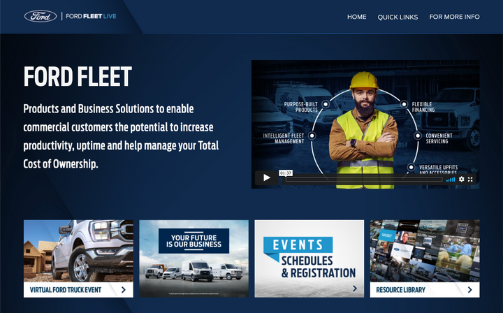There are four Ford Fleet Live events supported by a resource library packed with video content and other information covering Ford's full line of commercial vehicles, programs, and services. - Photo: Ford