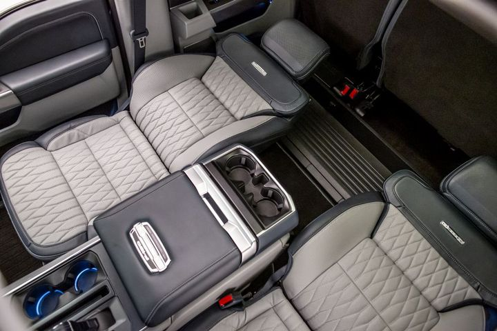 Class-exclusive available Max Recline Seats provide business-class comfort in F-150 during downtime – folding flat to nearly 180 degrees. - Photo: Ford Motor Co.