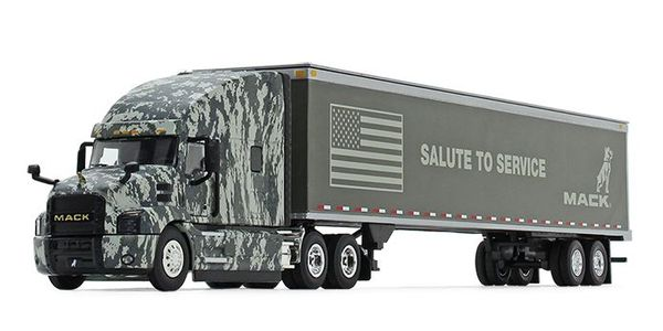 The Mack Anthem Digi Camo diecast is built to a 1:50 scale, with a detailed cab interior,...