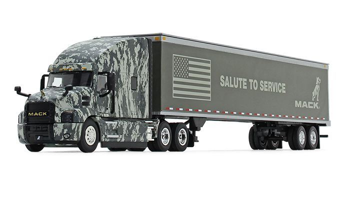 The Mack Anthem Digi Camo diecast is built to a 1:50 scale, with a detailed cab interior, pivoting fifth-wheel plate, and a detachable trailer. - Photo: Mack