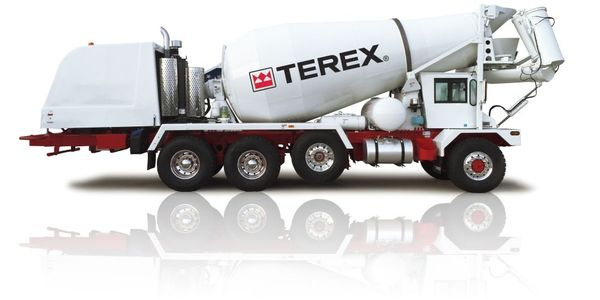 The Terex Advance FD4000 Front Discharge mixer truck features Meritor DualTrac rear axles...
