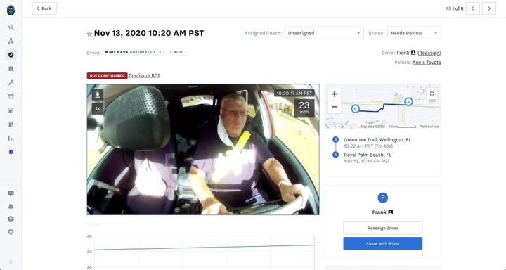 Using advanced artificial intelligence, dual-facing Samsara AI Dash Cams can now automatically detect if a driver is not wearing a mask. - Photo: Samsara