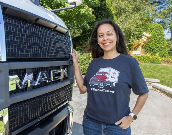 The fundraising T-shirt features a Mack MD Series truck driven by the Life is Good icon Jake and the hashtag #ThankATrucker. - Photo: Mack Trucks