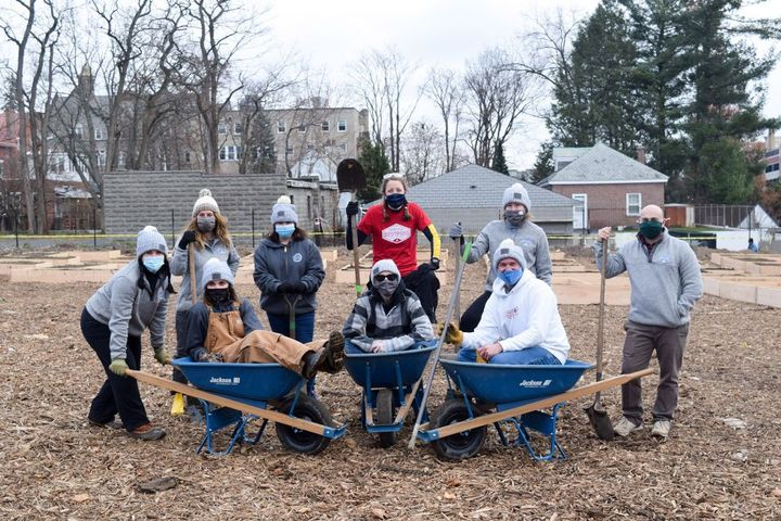 Part of its effort to give back in 2020, approximately 20 Bestpass employees built garden beds in support of the Capital Roots program. - Photo: Bestpass