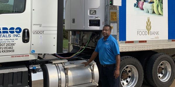 An X4 7500 refrigeration unit donated by Carrier Transicold is helping Arkansas Foodbank respond...
