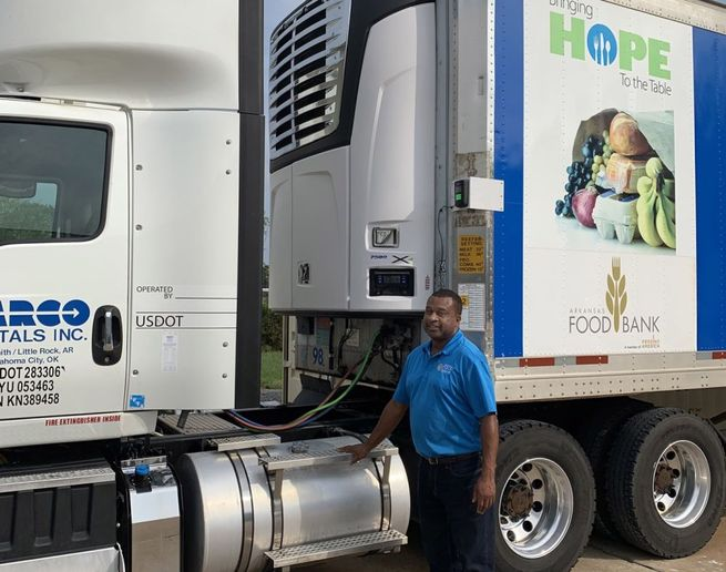 An X4 7500 refrigeration unit donated by Carrier Transicold is helping Arkansas Foodbank respond to the current unprecedented demand for assistance addressing those struggling with food insecurity throughout the state. - Photo: Carrier Transicold
