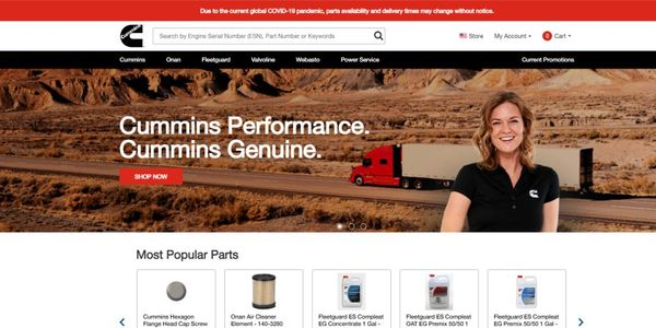 The online store features up to 50,000 Genuine new and ReCon Cummins parts and products such as...