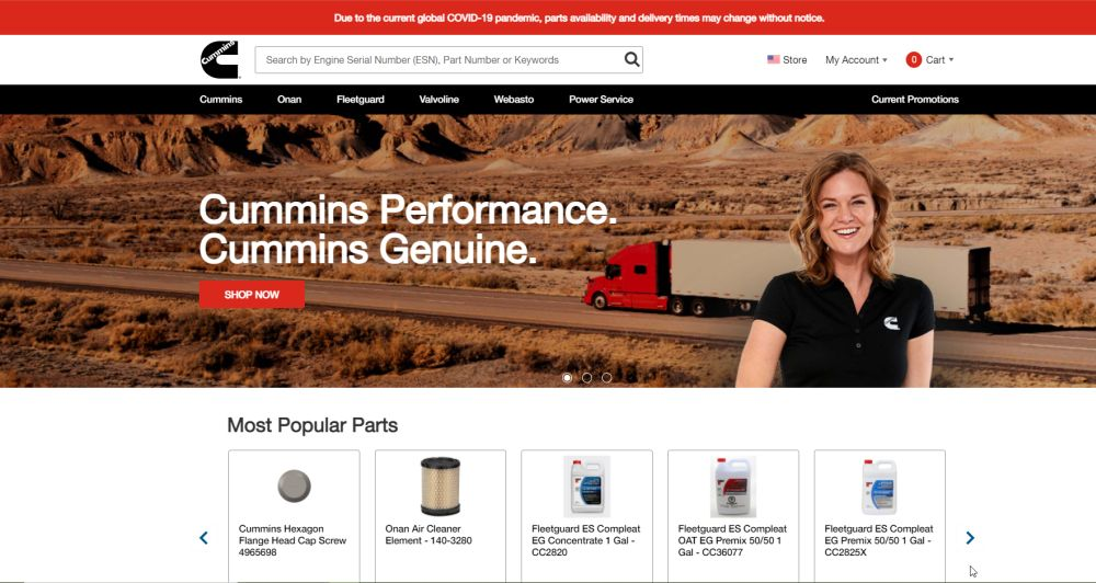 Cummins Launches Online Store for Genuine Parts & Products