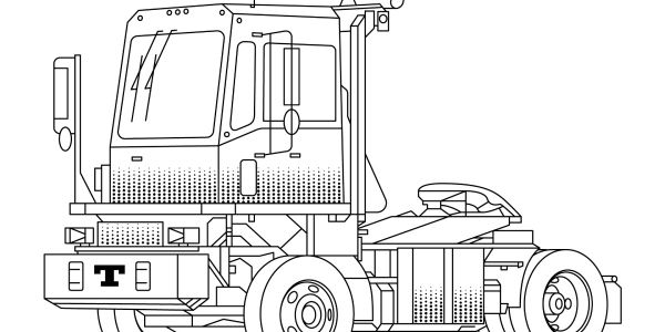 An artist rendering of the emission-free, electric terminal tractor.