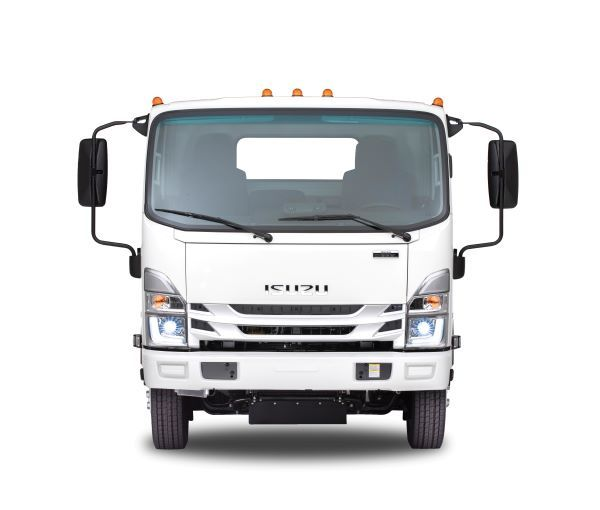 The 2022i Isuzu N-Series will get new bi-LED headlamps that deliver more light and less heat than halogen bulbs, along with a new standard matte silver grille. - Photo courtesy of Isuzu Commercial Truck of America.