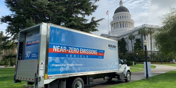 The Ford gasoline trucks, will be upfitted with a propane system developed by ROUSH CleanTech.