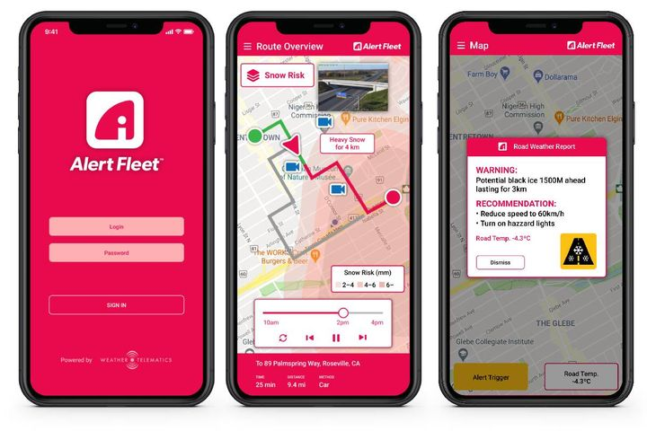 Weather Telematics (WTI), will be outfitting the new 70-vehicle US fleet for Skelton Truck Lines with the Alert Fleet Road Hazard mobile app. - Photo: Weather Telematics Alert Fleet