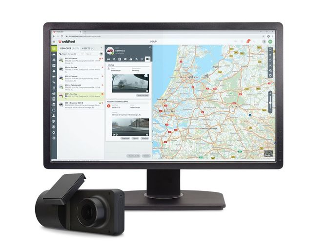 Accompanying Webfleet Video is the CAM 50 dashcam. This hardware uses artificial intelligence (AI) technology to automatically identify risky behaviour. - Photo: Webfleet
