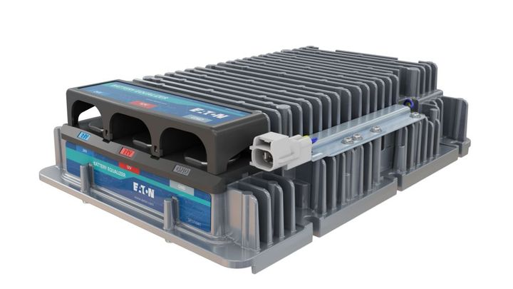 Eaton's specialty converter, also known as a battery equalizer, works in conjunction with another converter that takes power from the BEV's 600-volt system and steps it down to 24 volts. - Photo: Eaton