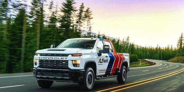 Among the vehicles offered by XL Fleet is the hybrid Chevy Silverado pickup truck.