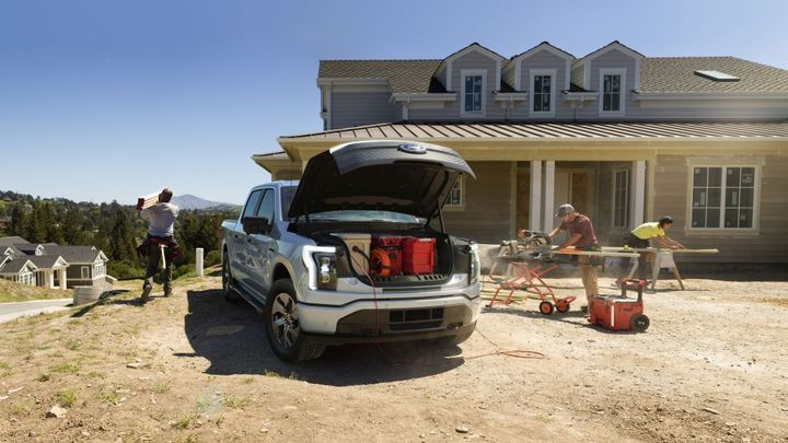 Under the hood is the Mega Power Frunk -a spacious, high-tech cargo area complete with four 120-volt AC Pro Power Onboard electrical outlets and two USB ports. - Photo: Ford