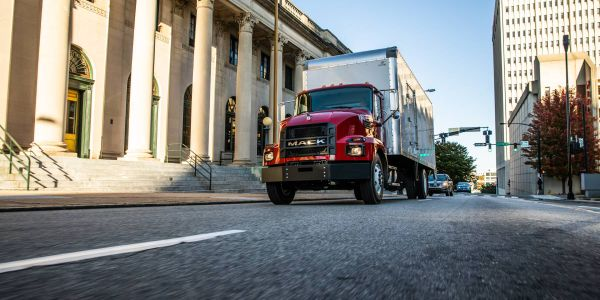 The wheel cut of Mack's MD Series increases maneuverability, and theinterior is ergonomic.