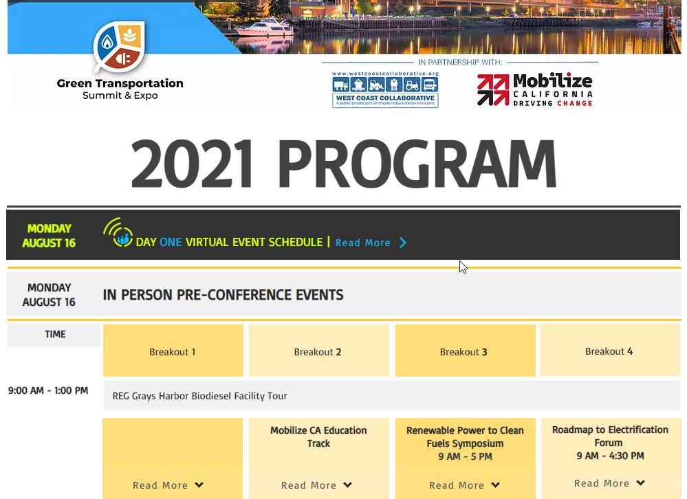 Program for 2021 Green Transportation Summit & Expo Live