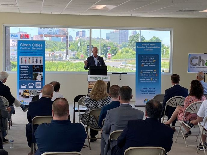Tucker Perkins, president and CEO of PERC, addresses the crowd during a grand opening ceremony for the Pride Travel Center. - Photo: Pride Travel Center