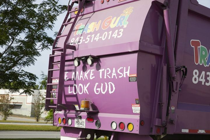 Trash Gurl's signature purple dumpsters and purple bodies on their Mack LR front-end loaders are complemented by the creative company name in bright-colored text. - Photo: Mack Trucks