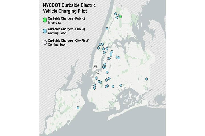 The curbside pilot program will bring 100 Level 2 charging ports to over 20 neighborhoods across the five boroughs, with 20 additional charging ports serving city fleet vehicles. - Photo: NYC DOT