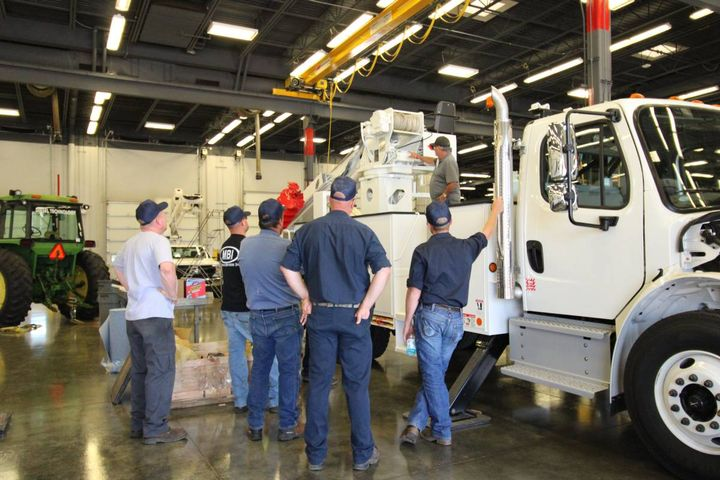 Stations included training on specific aerial devices and digger derricks. Participants also received general instruction on maintenance and inspections. - Photo: Terex Utilities