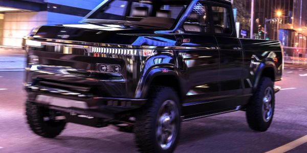 Atlis puts the spotlight on its XT pickup truck's taillights, bed lights and power stations.