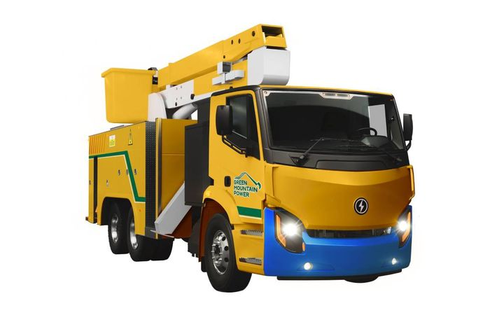 The company will supply the utility with a Lion8 bucket truck for line crews and a Lion6 stake body truck for electrical maintenance field crews. - Photo: Lion Electric