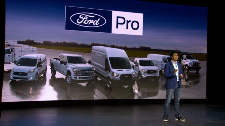 """CEO of Ford Pro, Ted Cannis, told attendees that """"the transformation of our business is happening right now. For us, it starts with Ford Pro, a new global business within Ford for the commercial customer."""" - Photo: Ford"""