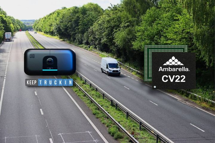 The AI Dashcam is connected to the KeepTruckin Vehicle Gateway, which uploads the pre-analyzed data, video and still images to KeepTruckin's cloud-based fleet management software in real-time. - Photo: Ambarella/KeepTruckin