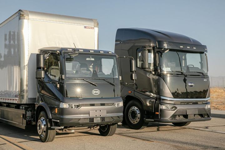 BYD's new Gen3 electric trucks. The 8TT (right) is suited for drayage, regional haul, and distribution work. The 6F (left) can be used for regional haul and distribution work or be equipped with refuse body. - Photo: BYD