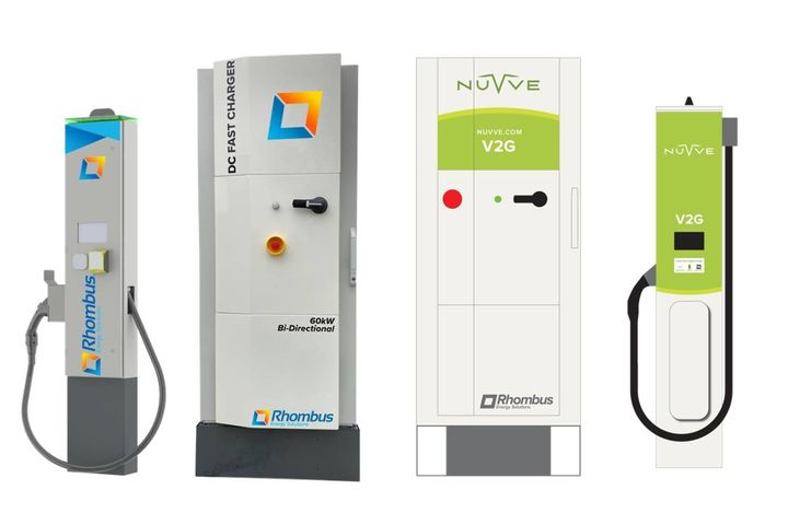 Rhombus Energy Solutions and Nuvve Holding Corp.'s 60kW vehicle-to-grid capable DC fast charger power control system and dispenser have been added to the approved product list for medium- and heavy-duty EVs. - Photo:Rhombus Energy Solutions