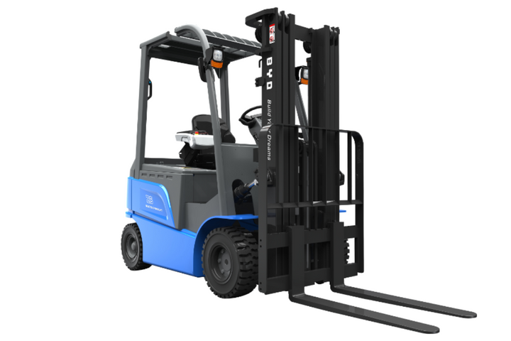 BYD's material handling equipment delivers a single battery, multishift solution. BYD forklifts can last for up to 15-plus hours. - Photo: BYD