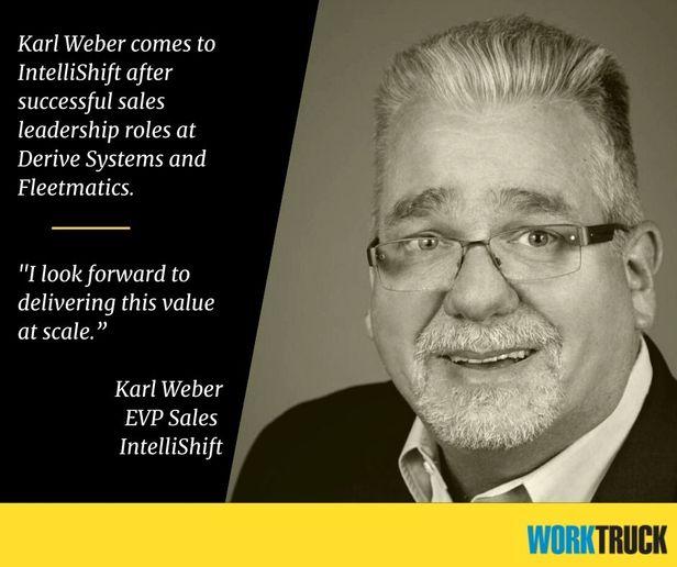 Karl Weber was named EVP of sales for IntelliShift. - Photo: IntelliShift & Work Truck Magazine
