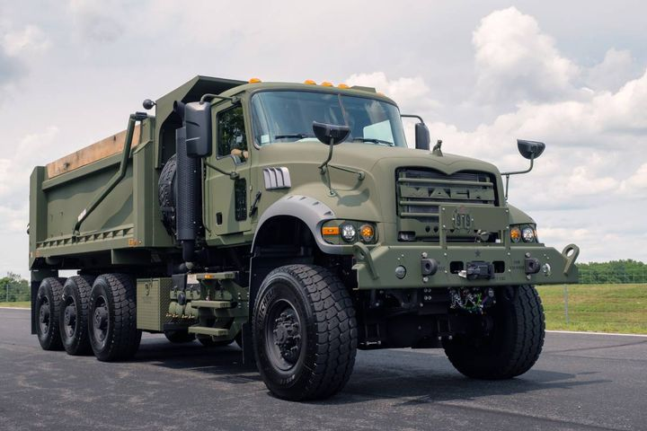 The 94,500 lb. GVWR M917A3 HDTs based on the Mack Granite model feature an all-wheel drive 8x8 configuration. - Photo: Mack Defense