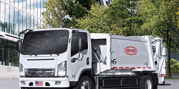 The vehicle is a BYD 6R Class 6 refuse truck, one of several medium-duty fully-electric or...