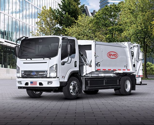 The vehicle is a BYD 6R Class 6 refuse truck, one of several medium-duty fully-electric or hybrid vehicles in the City's fleet and the first commercially deployed Class 6 refuse truck in the country. - Photo: BYD