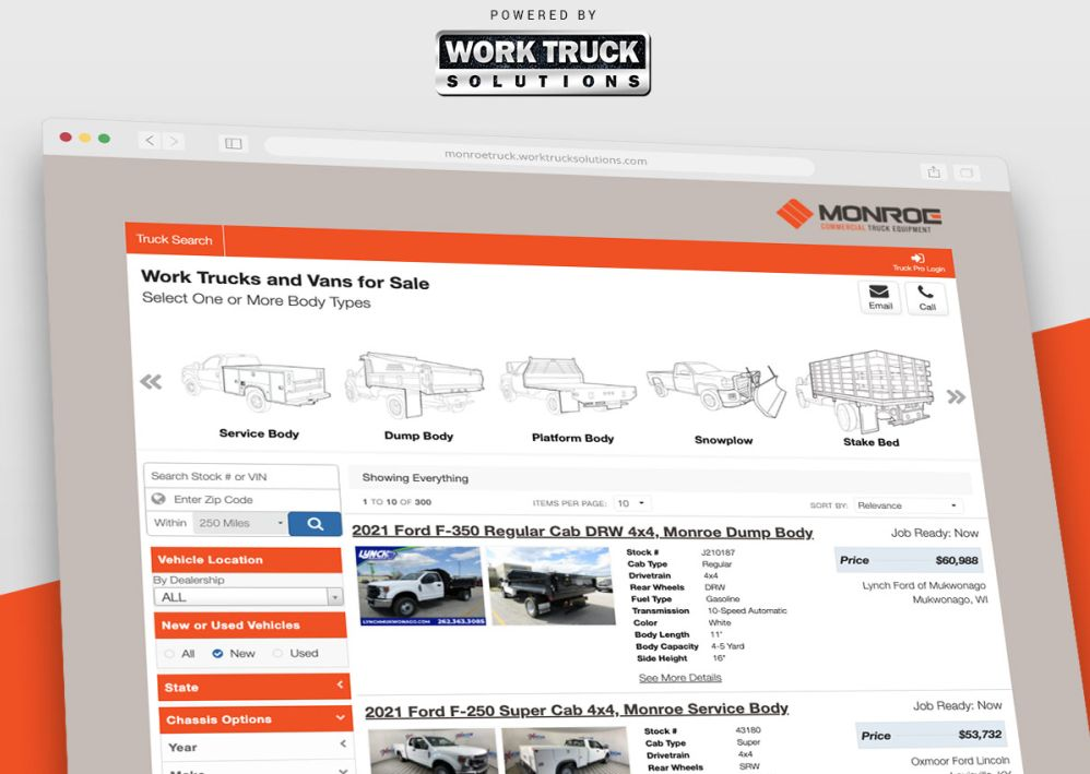 Monroe Truck Equipment Partners on Inventory Search Tools