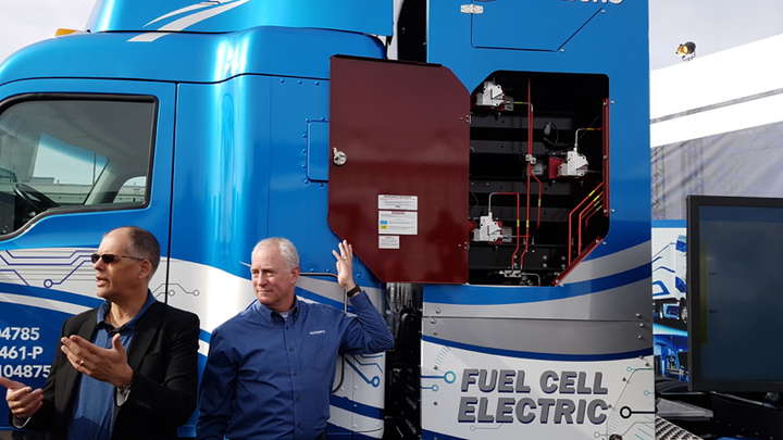 Andrew Lund, chief engineer for product development at Toyota, left, and Brian Lindgren, Kenworth's director of research development, announce their zero-emissions collaboration at CES 2019 in Las Vegas.  - Photo by Jim Park