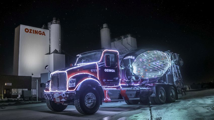 The Merry Mixer is a 2019 Kenworth T800 McNeilus Bridgemaster ready mix truck. This truck runs on compressed natural gas (CNG) and releases 40% less CO2 than diesel.