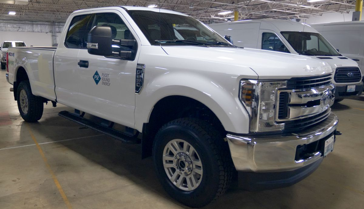 The utility has also added hybrid-electric Ford F-250 pickup trucks to its fleet. 