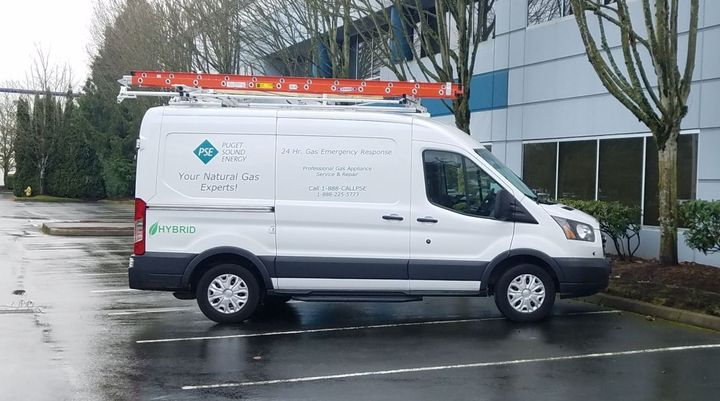 Puget Sound Energy has expanded its electrified fleet with 40 XL-equipped hybrid Ford vehicles, including Transit vans.  - Photo courtesy of XL