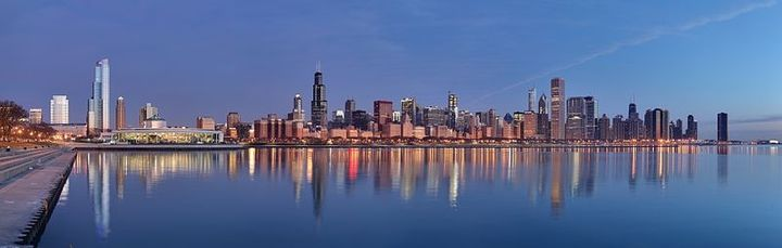 The City of Chicago is lighting the way for safety, turning its skyline green during National Safety Month.  - Photo courtesy of Wikimedia Commons.