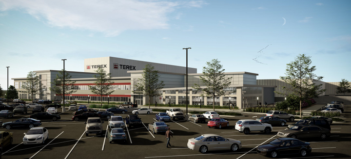 Terex's new manufacturing facility will consolidate ten facilities under one roof.  - Rendering courtesy of Terex