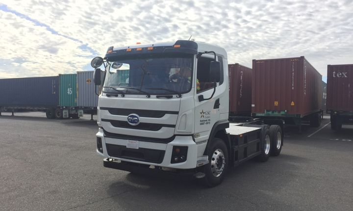 The Class 8 truck was grant-funded by CARB and will be part of a three-year feasibility study to determine whether zero-emission trucks could replace diesel trucks.Photo courtesy of BYD  -